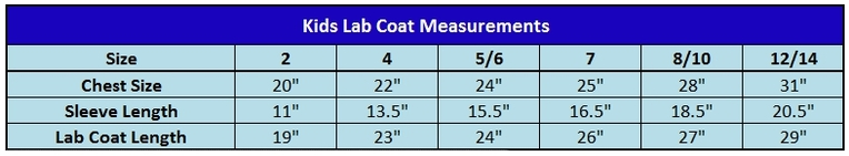 Kids Lab Coats Size Charts